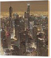 Lighted Downtown Wood Print