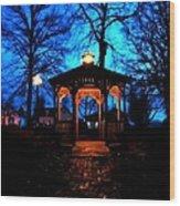Lighted Gazebo Sunset Park Wood Print