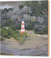 Lighthouse Aerial Near Jekyll Island Wood Print