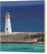 Lighthouse Along Coast Of Paradise Island Bahamas Wood Print