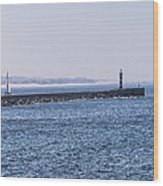 Lighthouse And A Sailing Boat Wood Print