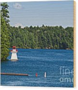 Lighthouse And Boathouse Wood Print