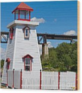 Lighthouse And Bridge Wood Print