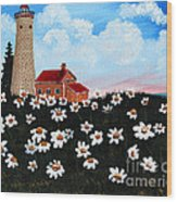 Lighthouse And Daisies Wood Print