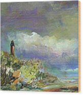 Lighthouse And Fisherman Wood Print