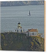 Lighthouse And Sailboat Wood Print