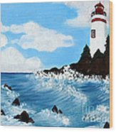 Lighthouse And Sunkers Wood Print