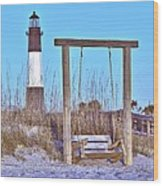 Lighthouse And Swing Wood Print