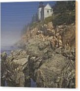 Lighthouse At Bass Harbor Maine Wood Print