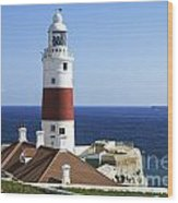 Lighthouse At Europa Point Gibraltar Wood Print