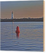 Lighthouse At Harbor Wood Print