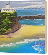 Lighthouse At Nobbys Beach Newcastle Australia Wood Print