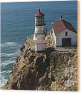 Lighthouse At Point Reyes Wood Print
