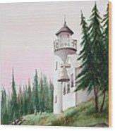 Lighthouse At Sunrise Wood Print