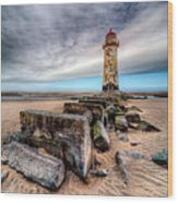 Lighthouse At Talacre  Wood Print by Adrian Evans