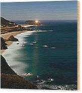 Lighthouse At The Coast, Moonlight Wood Print