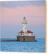 Lighthouse At The Navy Pier Wood Print