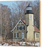 Lighthouse At White River Wood Print