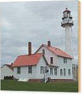 Lighthouse At Whitefish Wood Print