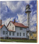 Lighthouse At Whitefish Point Wood Print