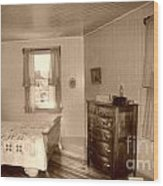 Lighthouse Bedroom In Sepia Wood Print