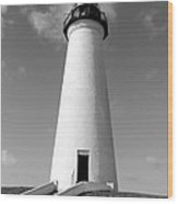 Lighthouse Black And White Wood Print