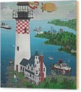 Lighthouse Fishing Wood Print