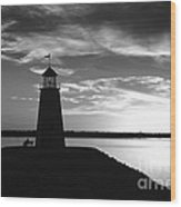 Lighthouse In Black And White Wood Print