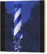 Lighthouse In Blue Wood Print