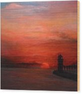 South Haven Mi Lighthouse In Four Seasons Summer Wood Print