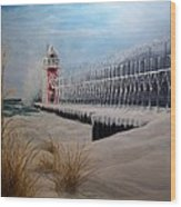 South Haven Mi Lighthouse In Four Seasons-winter Wood Print