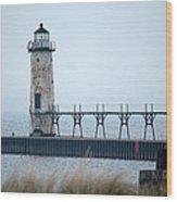 Lighthouse In Haze Wood Print