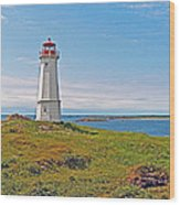 Lighthouse In Louisbourgh-ns Wood Print