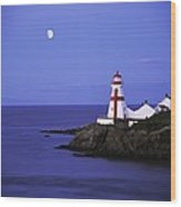 Lighthouse In Moon Light Wood Print