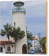 Lighthouse In Santa Barbara Street Wood Print