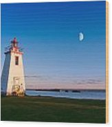 Lighthouse In The Light From Moon And Sun Wood Print
