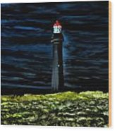 Lighthouse In The Night Wood Print