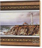 Lighthouse In Vintage Frame Wood Print