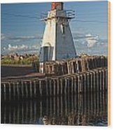 Lighthouse On A Channel By Cascumpec Bay On Prince Edward Island No. 095 Wood Print