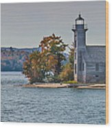 Lighthouse On Grand Island Michigan Wood Print