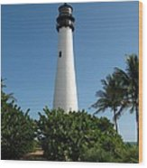 Lighthouse On Key Biscayne Wood Print