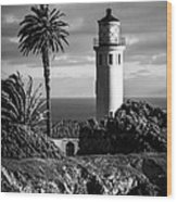 Lighthouse On The Bluff Wood Print