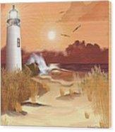 Lighthouse On The Coast Wood Print