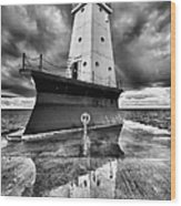 Lighthouse Reflection Black And White Wood Print
