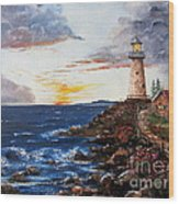 Lighthouse Road At Sunset Wood Print