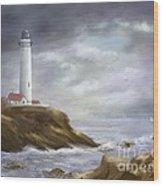 Lighthouse Stormy Sky Seascape Wood Print