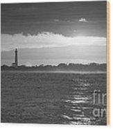 Lighthouse Sun Reflections Bw Wood Print