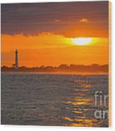 Lighthouse Sun Reflections Wood Print
