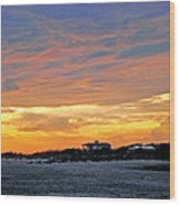Lighthouse Sunset By Jan Marvin Wood Print