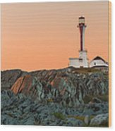 Lighthouse Sunset Wood Print